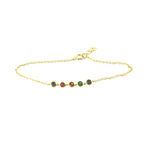 apop nyc Goldtone 925 Silver Rainbow Multicolor CZ Station Bracelet 7 inch [Jewelry]