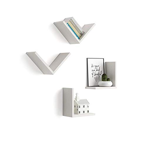 Mobili Fiver, Set de 4 estantes en V, Modelo Giuditta, de MDF, Color Blanco Ceniza, 25 x 15 x 25 cm