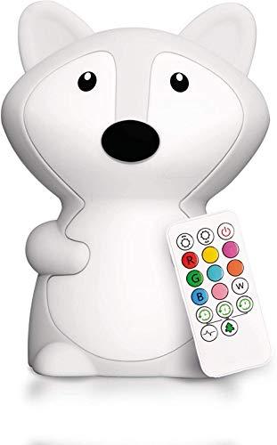 Luces nocturnas para niños, lámpara de noche portátil de silicona, luz multicolor con control remoto, iluminación USB recargable para dormitorio de bebé / regalo - Fox -L