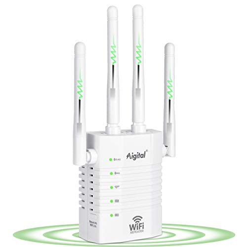 Aigital WiFi Range Extender, 1200Mbps WiFi Singal Booster Wireless Internet Amplifer, 2.4GHz & 5.8GHz Dual Band WiFi Extender with 4 Advanced External Antennas and Ethernet Port, 360° Full Coverage