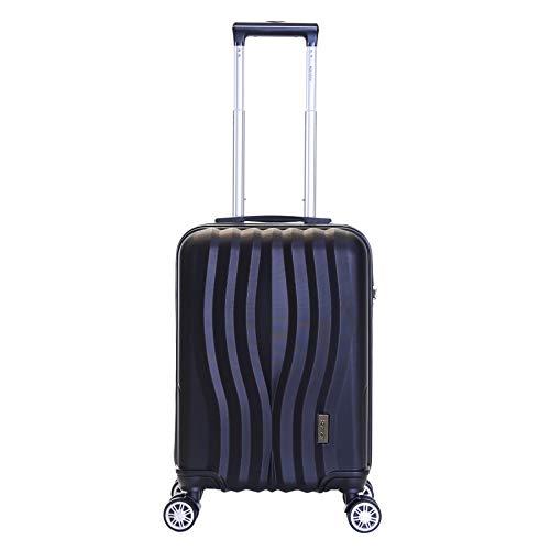 Karabar Hard Shell Cabin Carry-on Hand Luggage Suitcase Bag 55 cm 2.5 kg 35 litres 4 Spinner Wheels TSA Number Lock, Dune Black