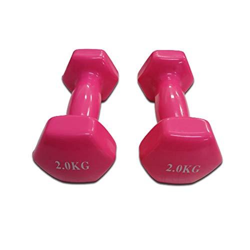 Mancuernas de Vinilo (2 kg) | Mancuernas hexagonales de Goma para Pilates | Pesas Antideslizantes para Gimnasio en casa | Deporte en casa con Pesas KOTTAO