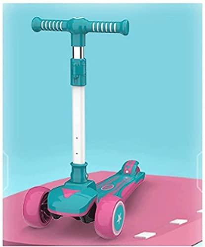 ZHEYANG Patinete Niña Scooter para niños con Dos manillares estéreo Ajustables Usado para Luces LED con Ruedas para niños con Scooter Kick Scooter Model:G0630(Color:Green)