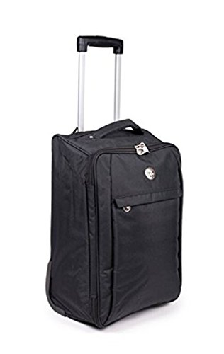 Lightweight Wheeled Cabin Travel Bag Suitcase Case Hand Luggage Trolley Holdall (Black)