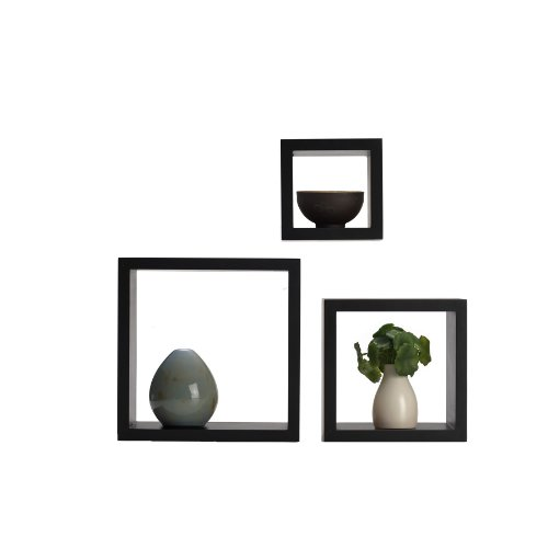MELANNCO Floating Wall Mount Square Cube Shelves, Set of 3, Espresso, 3 Count