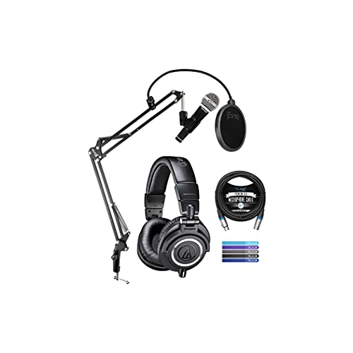 Audio Technica ATH-M50X Professional Studio Monitor Headphones, Black Bundle with Samson R21S Dynamic Microphone, Blucoil Boom Arm Plus Pop Filter, 10' XLR Cable, and 5-Pack of Reusable Cable Ties