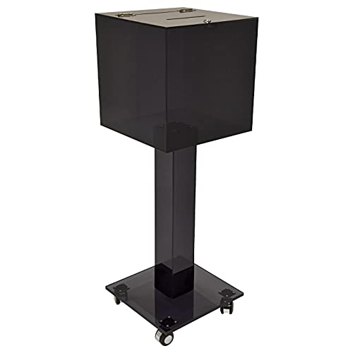 Kingdom Large Acrylic Collection or Donation Box with Casters for Easy Movement Plus a Lock and Keys so Your Collections and Donations are Kept Safely - Black/Smoky (Plain/Non-Personalized)