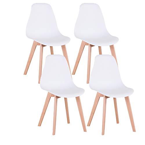 Uderkiny Conjunto de 4 sillas sillas de Comedor sillas de Estilo nórdico para Cocina Comedor Sala de Estar y Oficina (Blanco)
