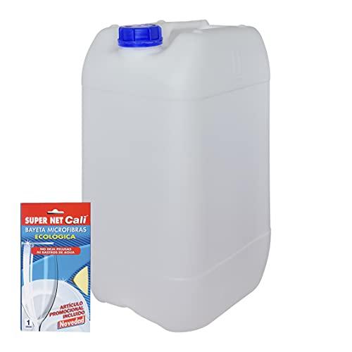 Bidón Garrafa Plástico 25 litros apilable. Apta para uso alimentario. Homologación para transporte. (1 Unidad+Bayeta Microfibras).