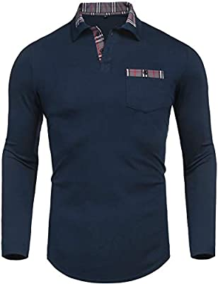 Daupanzees Men's Classic Casual Long Sleeve Plaid Collar Jersey Polo Shirt