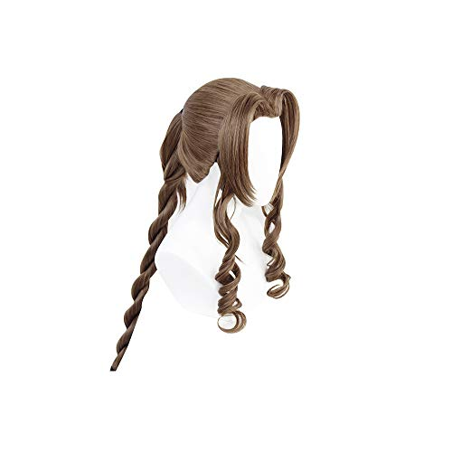 Brown Long Spiral Curly Pferdeschwänze Cosplay Halloween Perücke Synthetisches Haar Natürlich aussehend Anime Final Fantasy 7 FF7 Aeris WIG