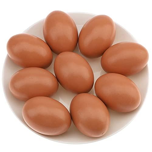 Gresorth 9trozo Falso Madera Huevo Decoración Artificial Play Cocina Comida Juguete para niños para Tendido Pollo Cooperativa - marrón