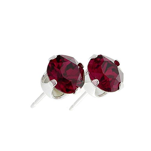 pewterhooter women's 925 Sterling silver stud earrings made with sparkling Ruby Red crystal from Swarovski. Gift box. Made in the UK. Hypoallergenic & Nickle Free for Sensitive Ears.