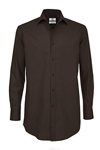 B&C: Popelin Hemd mit Elasthan-Anteil LA Black Tie LSL Men SMP21, Größe:XL;Farbe:Coffee Bean