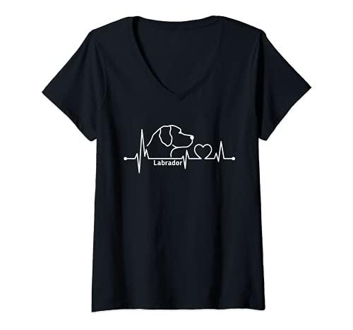 Femme Labrador battement de coeur chien race chien amant chien T-Shirt avec Col en V