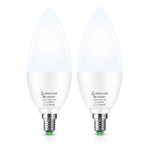 LOHAS LED E14 Kerze, WLAN LED Lampe Dimmbare, 350LM E14 Kerzenform Glühbirnen, 4W ersetzt 50W, Kaltes Weiß 6000K, Kompatibel mit Alexa Echo, Google Home, Steuerung über Smartphone, 2er Pack