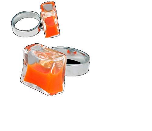 Pylones Ring, Glas, quadratisch, Mini Milk, Orange