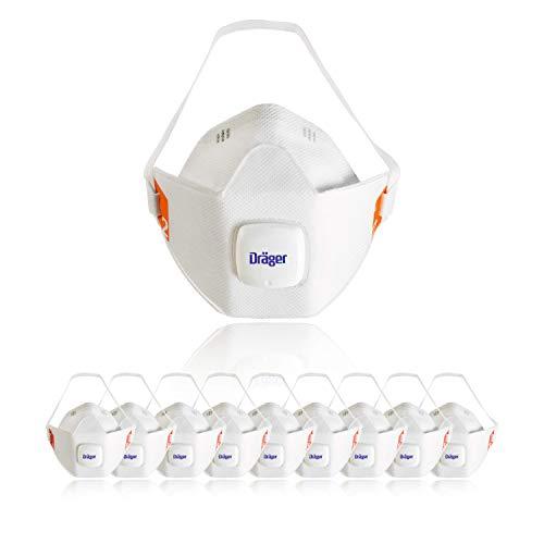 Dräger X-plore 1920 V Mascarilla de protección respiratoria FFP2 | Talla M-L | Lote de 10 máscaras anti polvo con válvula | Apta para trabajos de construcción, bricolaje y pintura