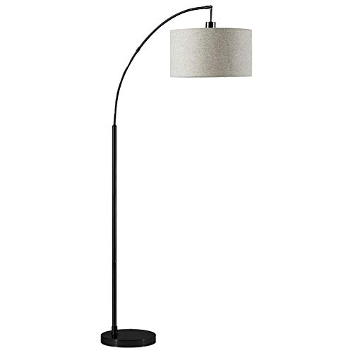 Rivet Modern Arc Floor Lamp with Bulb and Fabric Shade, 69'H, Matte Black