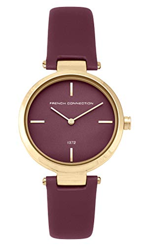 French Connection Damen Analog Quarz Uhr mit Leder Armband FC138RRG