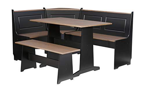 Linon Black and Pecan Breakfast Dining Set Ardmore Nook
