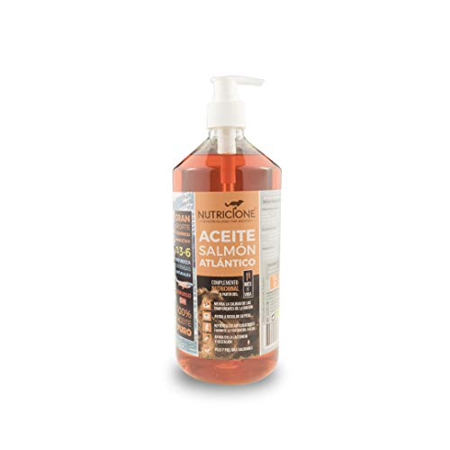 Nutricione Aceite de Salmón 100% puro extraído en frío para perros y gatos 1 Litro con dosificador