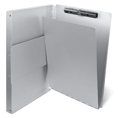 Aluminum Clipboard with Storage (Letter Size) Form Holder Portfolio Aluminum Metal Binder Heavy Duty with High Capacity Clip Posse Box - Clipboard for Office Business Professionals Stationer