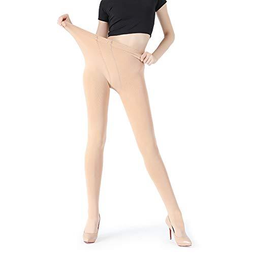 JEPOZRA leggings para mujer, cálido Otoño e invierno terciopelo elástico Leggings pantalones, grueso forro polar forrado térmico elástico mallas para niña mujer (Beige, L-XL)