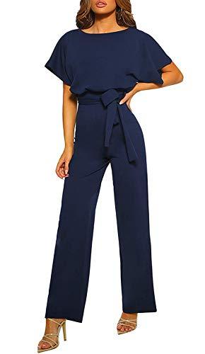 Mono Fiesta Mujer Elegante Manga Corta Mono de Pierna Recta Casual Sueltos con Cinturón Pantalones de Pierna Ancha, Marino Azul