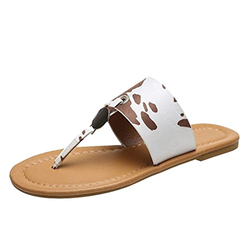 Yuanjay Women Summer Flat Shoes Large Size Print Slip on Sandals Non-Slip Quick Drying Open Toe Slides Slippers Brown 42