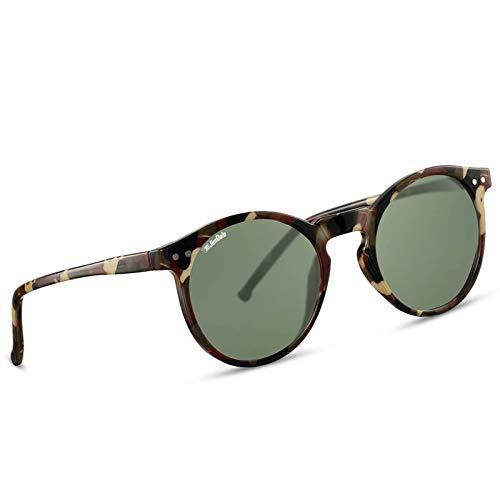 JD Jim Dale Runde Panto Sonnenbrille Kunststoffrahmen Camouflage Grün getönt UV400