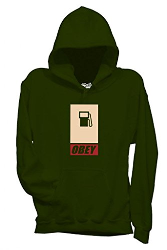 MUSH Sweatshirt Kapuzen Obey - Politik by Dress Your Style - Herren-XXL Dunkelgrün