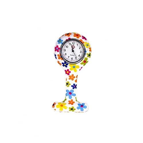 Flores de Silicona Reloj de la Enfermera con Clip de Tipo T Fob de la Broche de la Jalea del silicón del Reloj Colgante de Bolsillo de la Solapa del Reloj Mujer Niña 86x41mm