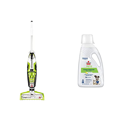 BISSELL Crosswave All in One Wet Dry Vacuum Cleaner and Mop for Hard Floors and Area Rugs, 1785A, Green with BISSELL PET Natural Cleaning Formula
