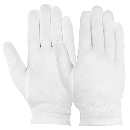 Hedume 24 Pack Cotton Moisturizing Gloves, White Eczema Dry Sensitive Irritated Skin Spa Therapy with Secure Wristband, Cleaning Serving Archival Gloves for Jewelry Art Costume Inspection Handling