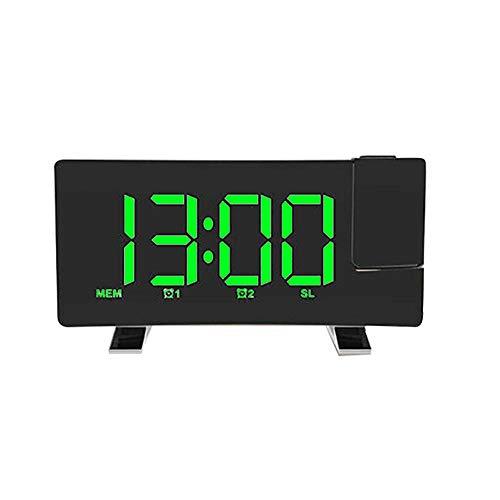 FPRW LED-display wekker, FM Digital Projection Wake Up USB-laadtafelklok, Radio Dimming Snooze Curved Screen wekker, groen