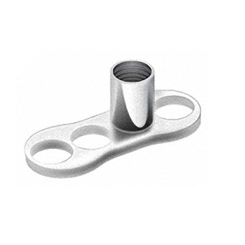 Piercingfaktor Titan Hauptplatte Grundplatte Body Implantat für Dermal Anchor Piercing Skin Diver Anker Aufsatz Kugel Aufsatzkugel Flach Silber 3 Loch