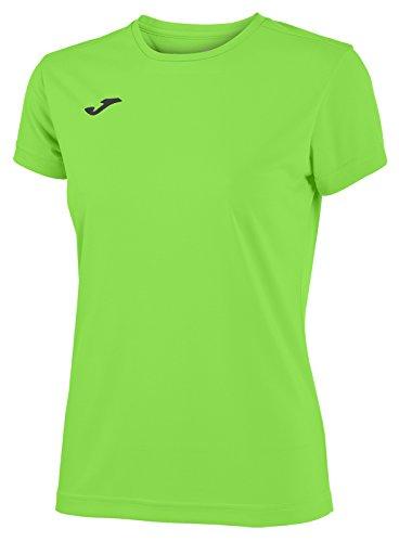 Joma Combi Woman M/C Camiseta Deportiva para Mujer de Manga Corta y Cuello Redondo, Verde (Verde Flúor)
