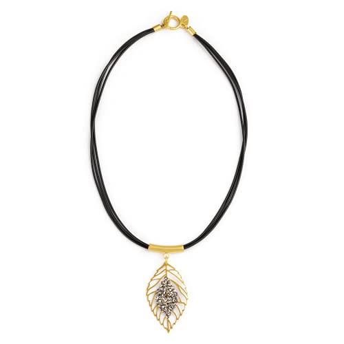 NIEVOS JEWELRY Collar corto chapado en oro de 24 quilates con colgante en forma de hoja y tubo con cristal Swarovski gris en cordones negros, joyería presente para ella hecha a mano en Israel