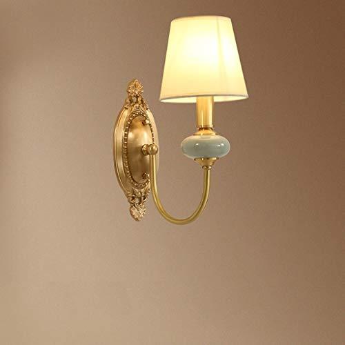 QIFFIY lamparas de Pared E14 Lámpara de Pared American Copper Ceramic Luz de la Pared Luz de la Tela Simple Pantalla Pantalla Dormitorio Sala de Estar Pasillo Pasillo Luces de Pared luz de Pared