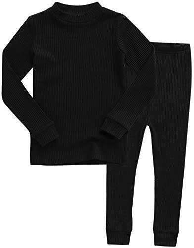 VAENAIT BABY Kids Girls Long Sleeve Modal Sleepwear Pajamas 2pcs Set Rib Knit Black XS