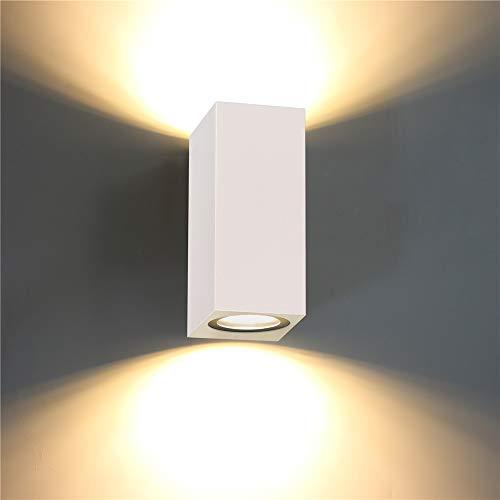 ERWEY LED Wandleuchte Außenwandleuchte inkl. 2x 5W GU10 Leuchtmittel Außenleuchte Außenlampe Wandlampe für Innen und Außen IP44 (Weiß, Quadratisch)