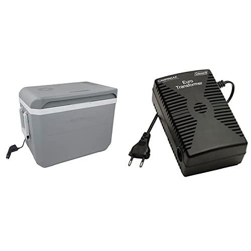 CAMPINGAZ Nevera Termoeléctrica Powerbox Plus 24L + 203164.0 Transformador 230Vac/12Vc, Negro, 12 V/230 V