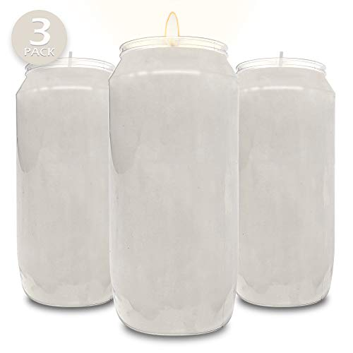 Hyoola 7 Day White Prayer Candles, 3 Pack - 6' Tall Pillar Candles for Religious, Memorial, Party Decor, Vigil and Emergency Use - Vegetable Oil Wax in Plastic Jar Container