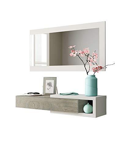 Salone Negozio Online Kit Mobile Ingresso 1CASSETTO + 1 Specchio 'Noon' Bianco E Legno