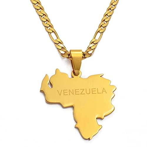 Colgante y collares con mapa de Venezuela para mujeres / hombres, joyería de acero inoxidable y color dorado, regalos venezolanos