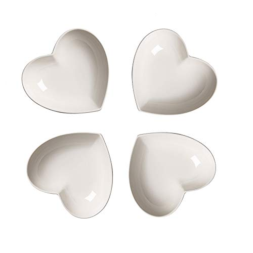 Super schattig hart sharpe keramische sauzen Dish, mini-side kruidenschaal, kruiden gerechten/sushi-soja-dipping-kom, snack-serveerservies, liefde porselein kleine schoteltjes set (4-delige set) 12 cm.