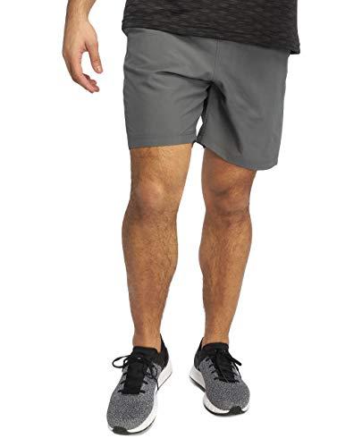 Under Armour Woven Graphic Wordmark, ultraleichte und atmungsaktive Sporthose, komfortable Sportshorts mit loser Passform Herren, Pitch Gray / Orange Glitch , XL