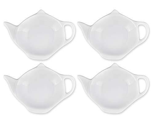 SCSpecial Teebeutelhalter in Teekannenform, Schale für Saucen, Dessert, 4 Stück weiß