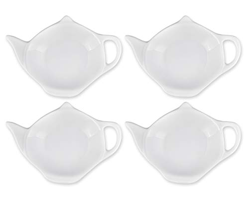 SCSpecial 4 pezzi a forma di teiera Tea Bag Holder bustina sottobicchiere salsa di condimento piatto per dessert - Bianca